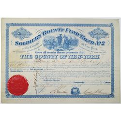 Soldiers Bounty Fund, No. 2, The County of New York, 1864 Bond Signed by NYC Mayor, Charles G. Gunth