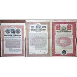 City of Charleston, 1907 & 1909 and Charleston Illuminating Co., 1905 Specimen Bond Trio