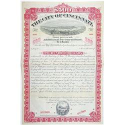 City of Cincinnati 1894 Specimen Bond