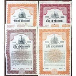 City of Cincinnati Specimen Bond Quartet, ca. 1949-1951