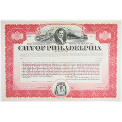 City of Philadelphia 1919 (Issued in 1921) Specimen Bond