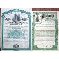City of Pittsburgh Specimen & Proof Bond Pair, ca.1885 and 1895.
