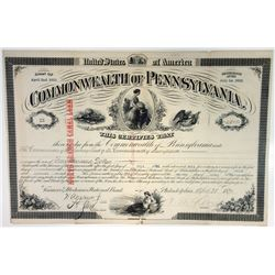 """Commonwealth of Pennsylvania, North Branch Canal Loan"""", 1871 I/C Bond"""