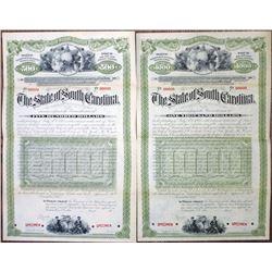 State of South Carolina, 1900-1920 Specimen Bond Pair
