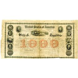 State of Tennessee, Cr.61A, January 1st, 1861, Issued and Repaired Bond Signed by Governor Isham G.