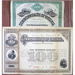 Commonwealth of Virginia 1882 Specimen Bond Pair