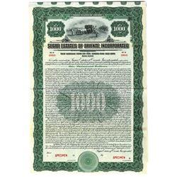 Sugar Estates of Oriente, Inc. 1922 Specimen Bond