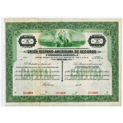 Union Hispano-American de Seguros, ca.1900-1920 Specimen Stock Certificate