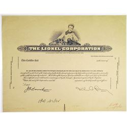 Lionel Corp. 1952 Approval Progress Photo Proof Stock Certificate