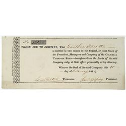 Columbia Turnpike Road, 1814 I/U Stock Certificate.