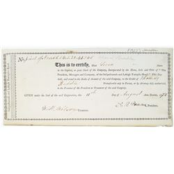 Susquehannah and Lehigh Turnpike Road, 1816 I/U Stock Certificate Issued to Thomas Biddle.