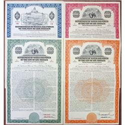 Department of Water and Power of the City of Los Angeles, 1943, 1949 & 1952 Specimen Bond Trio & Mod