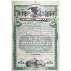 People's Gas Light and Coke Co. 1895 Specimen Bond