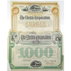 Electric Corp. Issued Stock and Bond Pair, ca.1909-1911.