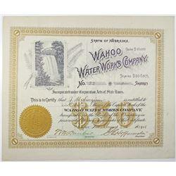 Wahoo Water Works Co. 1908 I/U Stock Certificate