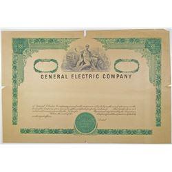 General Electric Co., 1950-60's Progress Proof Stock Certificate