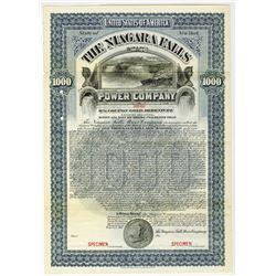 Niagara Falls Power Co. 1901 Specimen Bond