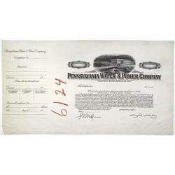 Pennsylvania Water & Power Co., 1920-40 Progress Proof Stock Certificate