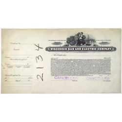 Wisconsin Gas and Electric Co., 1920-40's Progress Proof Stock Certificate