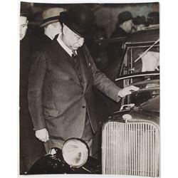 Sir Herbert Austin Examining a Ford Automobile, 1930s Original Photograph