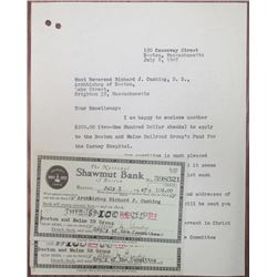 Shawmut Bank, 1947 Donations Issued to Archbishop Richard J. Cushing and the Catholic Church.