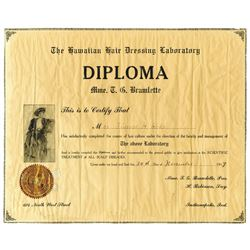 Hawaiian Hair Dressing Laboratory, 1917 Issued Diploma