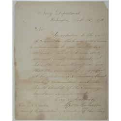 Navy Department 1876 Correspondence from George M. Robeson