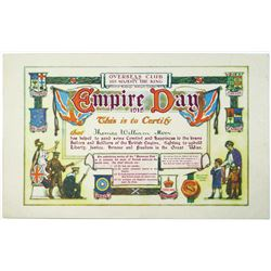 Overseas Club 1915 Issued Empire Day Certificate