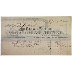 Elias Ehler, Steamboat Joiner, 1880 Issued Bill Head