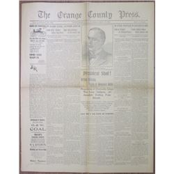Orange County Press 1901 McKinley Assassination Newspaper