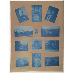 William McKinley Related Images, ca.1901 Printed on Brown Silk with Blue Photos & Images.
