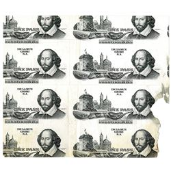 De La Rue Giori S.A., ND (1970-80's)Uncut Progress Specimen/Proof Sheet of One Pass Notes