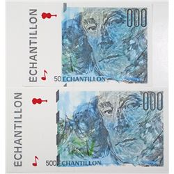 Echantillon Sample Ad Note Pair, ca.1980-90's