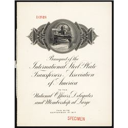 Banquet of the International Steel Plate Transferors Association, 1917 Specimen Booklet.