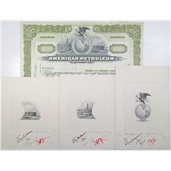American Petroleum Co., 1902 Specimen Stock Certificate & Stock Approval Proof Vignette Trio