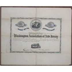 Washington Association of New Jersey 1874 I/U Stock Certificate