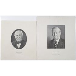 "ABNC ""Woodrow Wilson"" and ""Thomas Edison"" Large Die Proof Vignette Pair, ca.1920-30's."