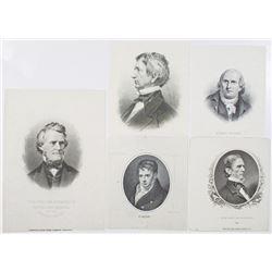 ABNC Historical Figures Proof Vignette Quintet, ca.1850-70's.