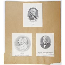 ABNC Proof Vignette Trio, ca.1900 to 1940s Including George Washington Portrait.