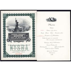 Annual Banquet of the Bankers of the City of NY, 1907 Specimen Menu.