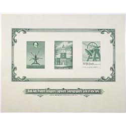 Bank Note Printers' Designers' Engravers' Siderographers' Guild of New York Souvenir Card