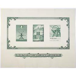 Bank Note Printers' Designers' Engravers' Siderographers' Guild of New York Souvenir Card