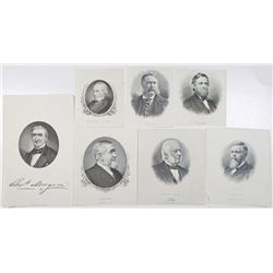 American President & Businessmen Proof Vignette Group of 7, ca.1860 to 1890's.