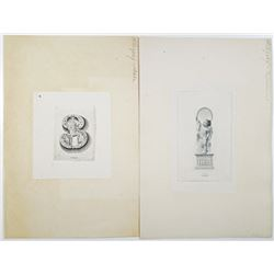 "Classic Security Printer Allegorical Intaglio Proof Vignette Numeral ""3"" and Text ""Three"" Pair, ca.1"