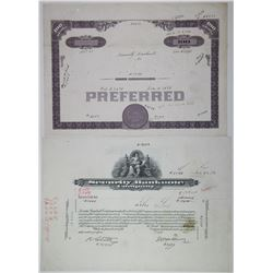 Security Banknote Co., ca.1930-40's Progress Proof Stock Certificate Pair