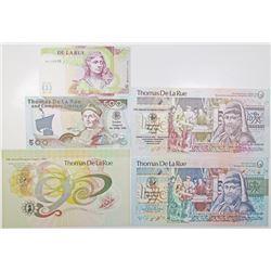 Thomas de La Rue & Co. Ltd. Commemorative Advertising Banknote Quintet, ca.1980-90's.