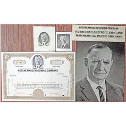 Modine Manufacturing Co. Stock Certificate, Photograph, and Design Elements Group circa 1940-50's.