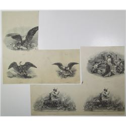 Security Printer, ca.1910-30 Group of 6 Intaglio Printed Vignettes
