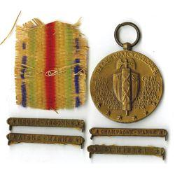 World War I Victory Medal with Battle Clasp Quartet, ca.1919