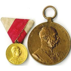 Austrian Commemorative Medal Pair, 1848 - 1898 in Bronze or Copper and the Smaller one in Gold, ca.1